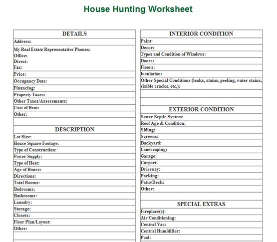 House Hunting Worksheet
