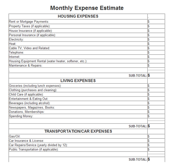 Monthly Expense Estimate